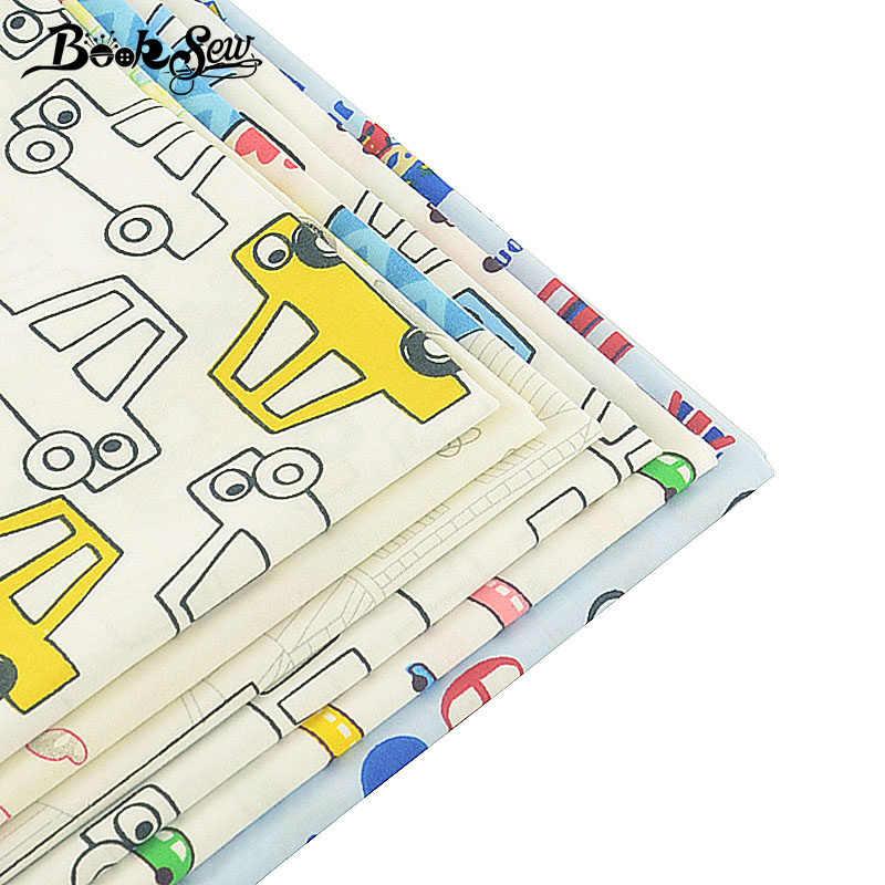 서적 100% 목화 능 직물 6 개/몫 40x50 cm 어린이 자동차 디자인 홈 섬유 tecido tissu 퀼트 침구 아기 diy 공예
