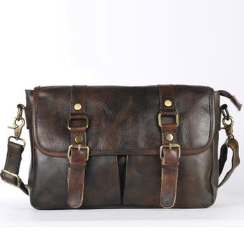 Genuine Tanned Leather Men Sling Cross Body Shoulder Bags Vintage Large Capacity Real Cowhide Luxury Messenger Business Bag