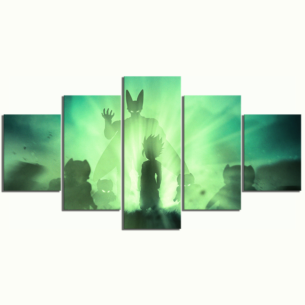 5 Piece Dragon Ball Z Gohan Vs Cell Anime Poster Canvas Paintings for Home Decor Abstract Art Cartoon Paintings 3