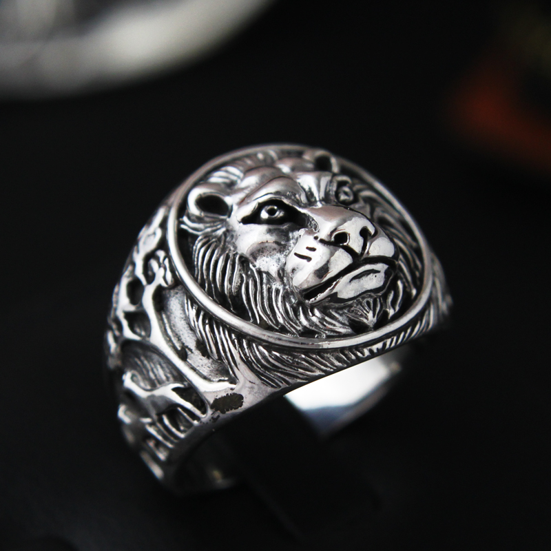 925 Silver Ring male lion Silver Ring single domineering personality retro punk lion ring finger
