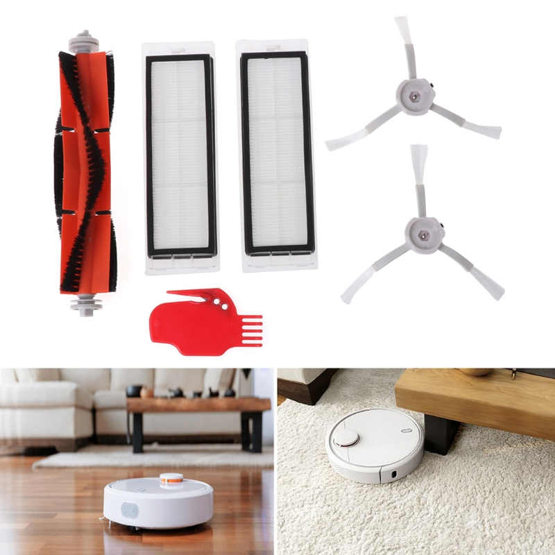 SKYMEN Spare Replacement Parts For Xiaomi Robot Main Brush+2 Side Brushed+2 Filters New