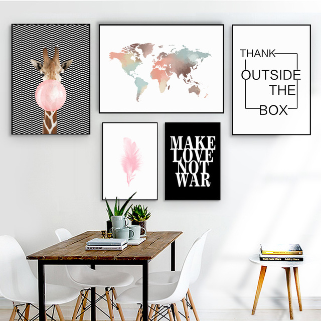 Watercolor World Map Giraffe Balloon Wall Art Canvas