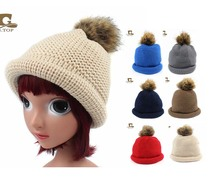 Children lovely Warm Winter Wool Knit Beanie Fur Pom Bobble Beret Hat Crochet Ski Cap