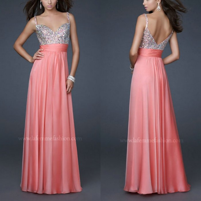 Best Selling Spaghetti Straps Water Melon Color Prom Dresses 2015-in ...