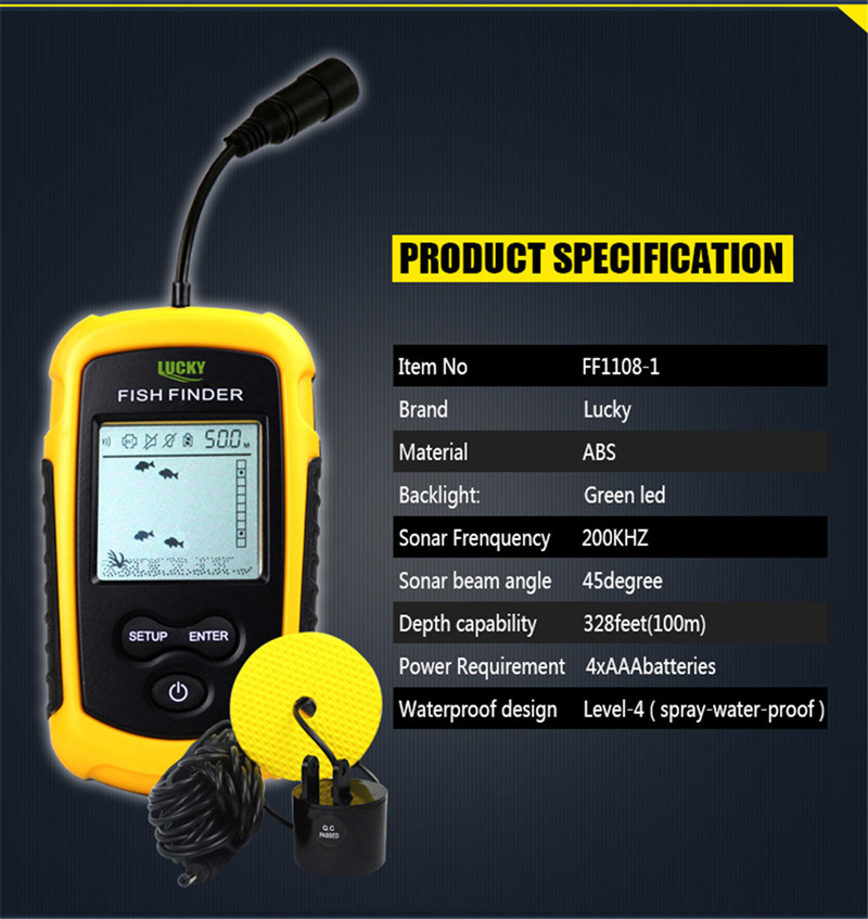 Lucky Sonar Fish Finder Alarm FF1108-1 100M Portable Sonar Sensor LCD Fishfinder Deeper Echo Sounder Transducer for Fishing Lure (2)