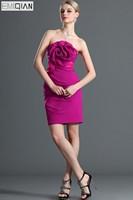 Strapless Flowers Sash Mini Plum Chiffon Bridesmaid Dress Wedding Party Dress