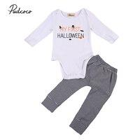 Hot Newborn Baby Boy Girl Halloween Clothes Set Cotton Bodysuit+Striped Pants 2pcs Outfits Set