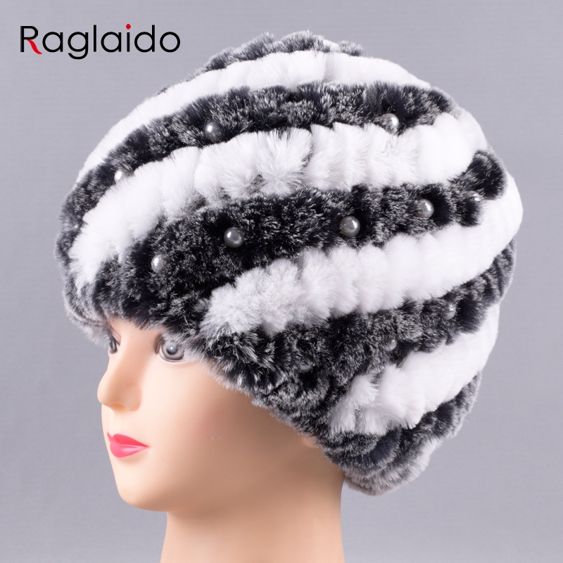 Raglaido Women's hats caps real rabbit fur hat   skullies     beanies   winter warm pearls Unique New design fashion snow cap LQC100