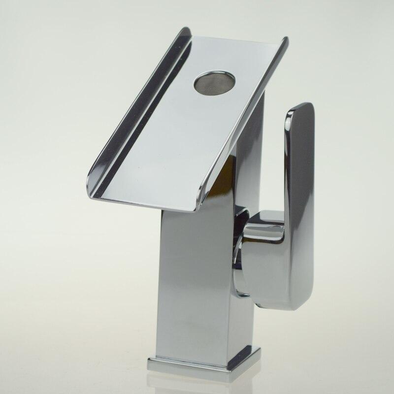 Brass Sink Waterfall Bathroom Faucet Handles Basin Mixer Water Tap ...