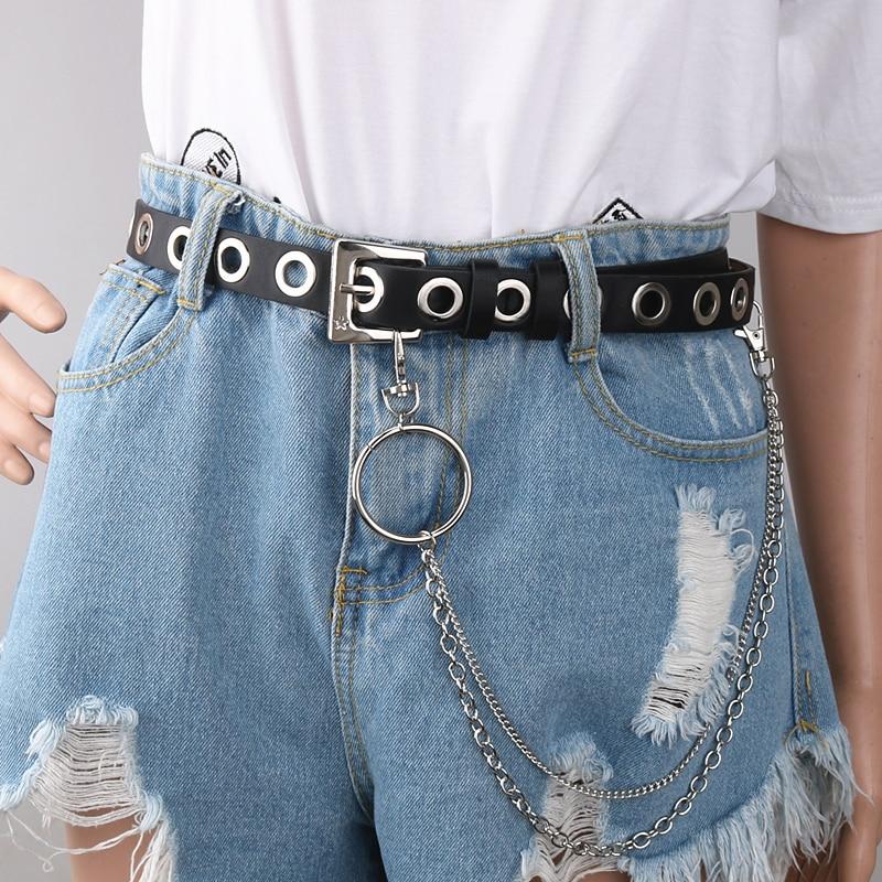 Готический ремень из искусственной кожи, женский серебряный ремень с металлической цепочкой и кольцом, пояс для уличных танцев, декорированные ремни для женщин, джинсы для девочек, черный цвет