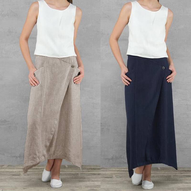 Celmia Vintage Women Maxi Skirts 19 Summer Casual Loose High Waist Asymmetrical Linen Skirt Plus Size Long Pleated Beach Skirt 5