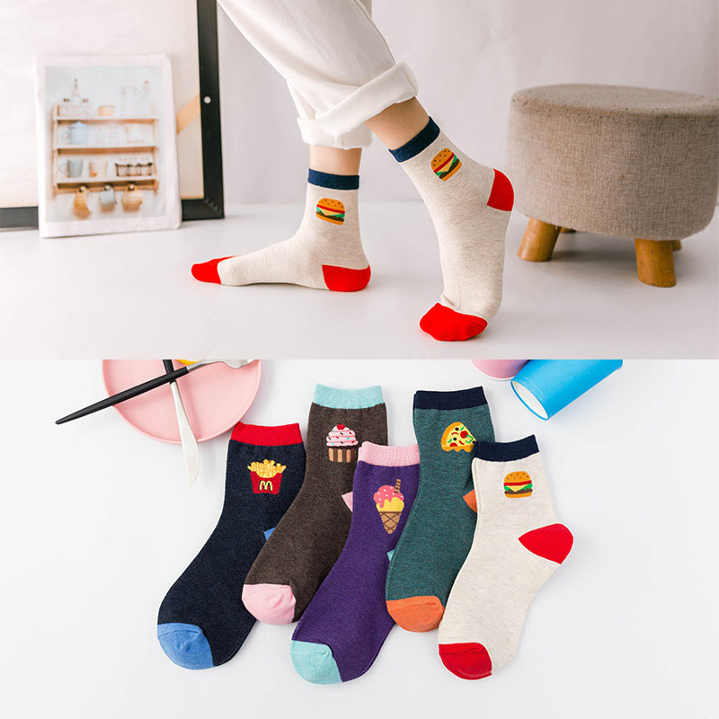 Socks   for women Ins style fruit pizza Burger French fries cotton funny cute short   socks   2019 spring summer female casual   sock