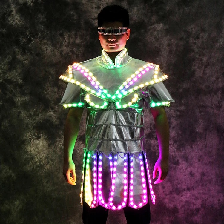 Полноцветные яркие светодиодные танцевальные костюмы вечерние костюмы для мужчин dj clothe Бальные Танцевальные певицы платье для дискотеки
