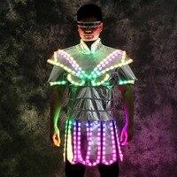 Полноцветный красочный с подсветкой Танцы костюмы вечерние носит мужчины dj одеть бальных танцев Певица Платье для дискотеки