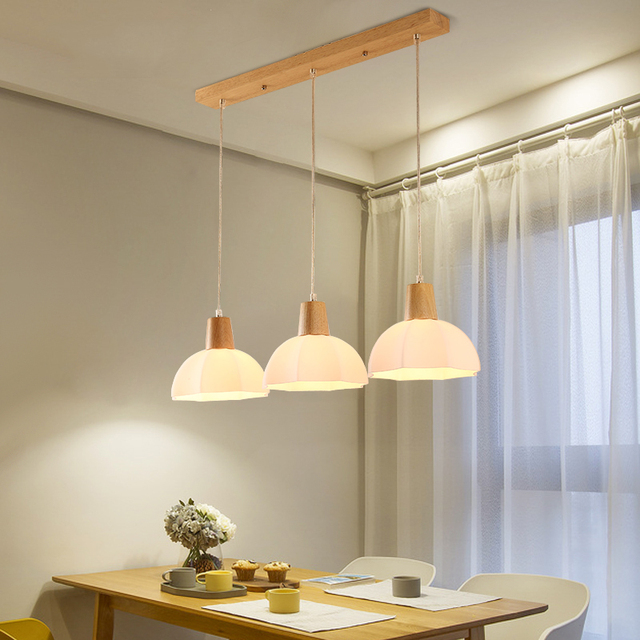 LED Suspended Lighting Wooden Chandelier Dining Room Pendant Lamps Restaurant Hanging Lights Nordic Illumination Fixtures