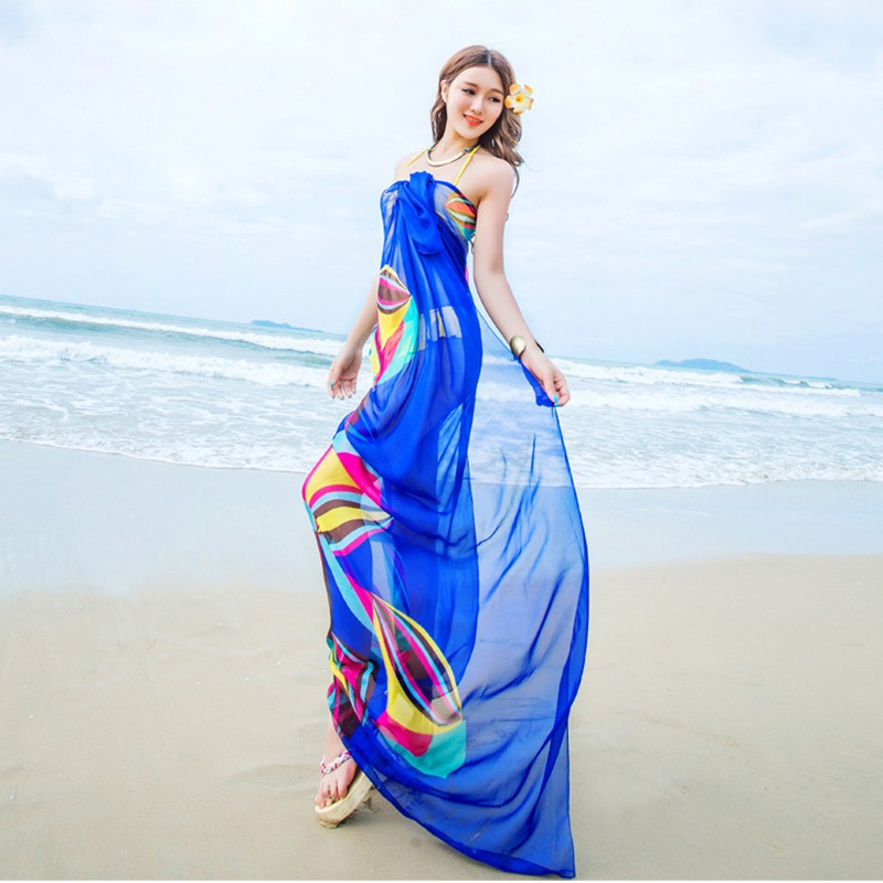 c10b70377c7 140x190cm Pareo Scarf Women Beach Sarongs New Summer Chiffon Scarves  Geometrical Design Swimsuit Cover Up Bikini Dress 2018-in Women s Scarves  from Apparel ...