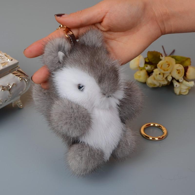 Genuine Mink Furs squirrel Key Chain Pompom Fur Keychain Bag Car pendant