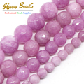 Wholesale Faceted Light Purple Stone 4/ 6/ 8/10/12mm Round Beads 15inches For Jewelry Making -F00496