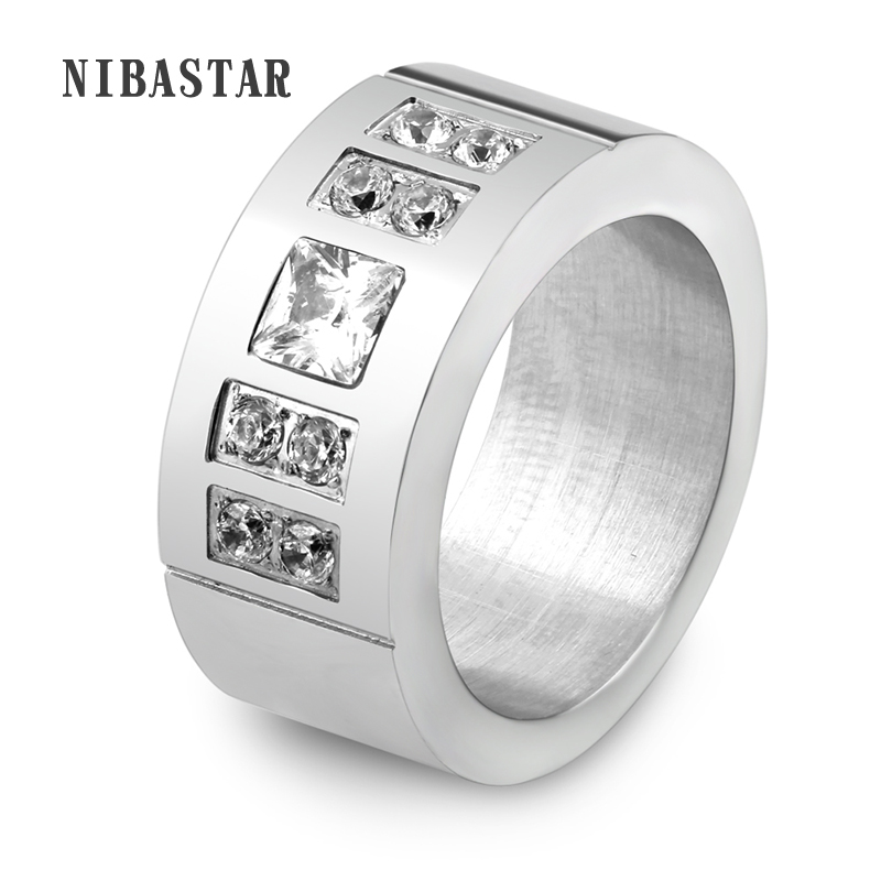 Fashion Silver Plated Stainless Steel Crystal Ring Female Titanium Wedding Ring For Women Size 6-10
