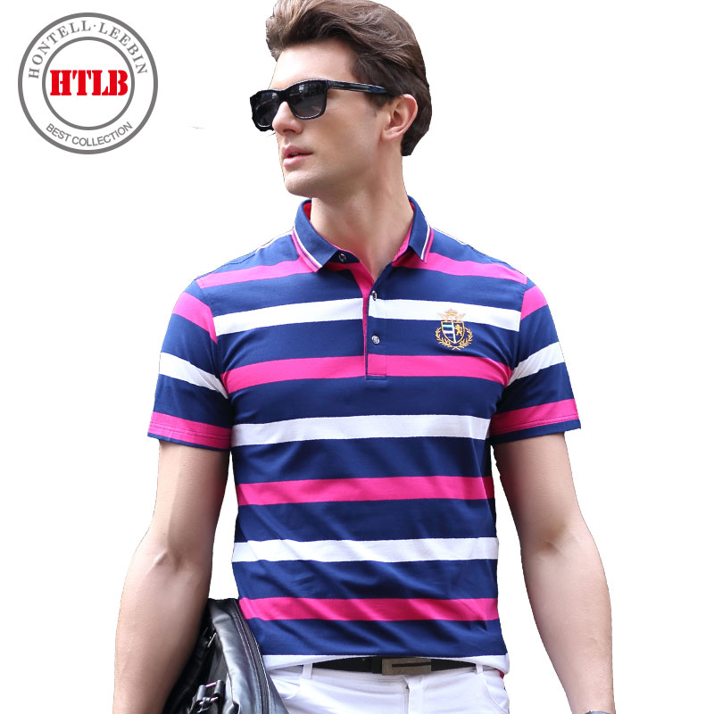 2017 Summer Mens Fashion Polo Shirts Patchwork Contrast