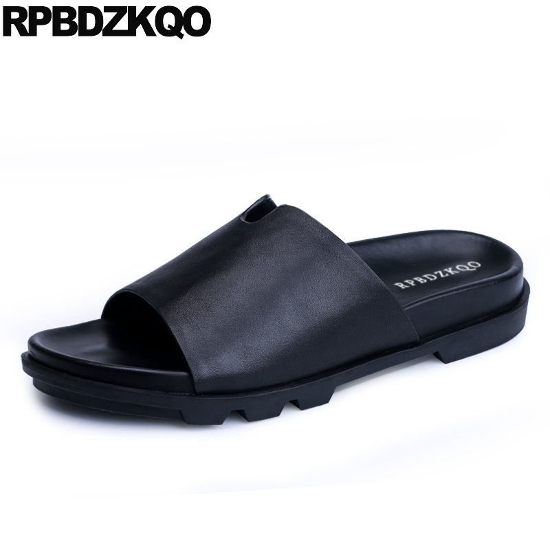 outdoor flat slides slip on genuine leather fashion black casual breathable sandals designer shoes men high quality slippersoutdoor flat slides slip on genuine leather fashion black casual breathable sandals designer shoes men high quality slippers