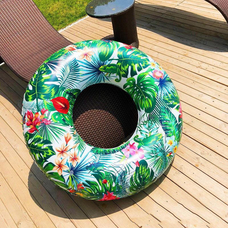 Tropical Palm Tube Float 120cm Giant Floral Print Inflatable Swimming Ring 2019 Newest Pool Floating Raft Circle Water Party Toy