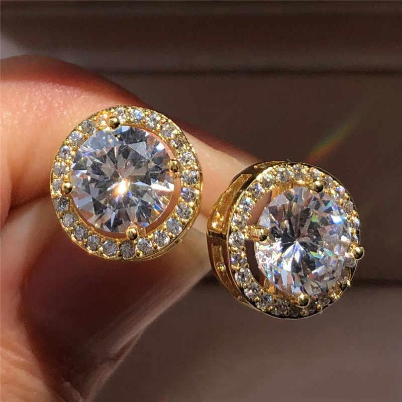 Luxury Crystal Female Small Round Stud Earrings Vintage 925 Sterling Silver Wedding Jewelry Zircon Stone Earrings For Women