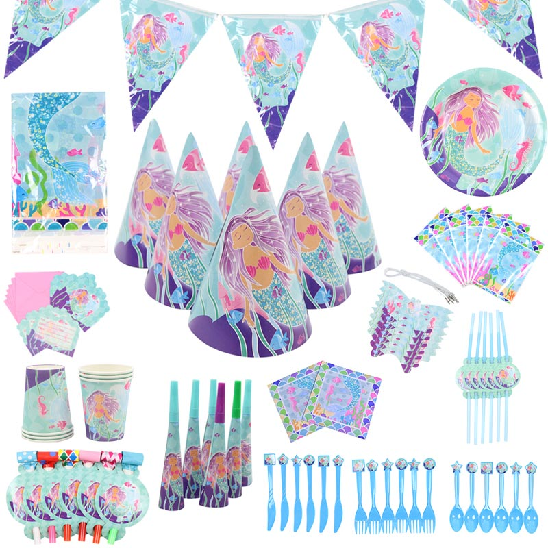 95pcs Little Mermaid Party Decor Tableware Kit1st Happy Birthday Party Paper Banner/Cups/Plate/Napkin Baby Shower Party Supplies