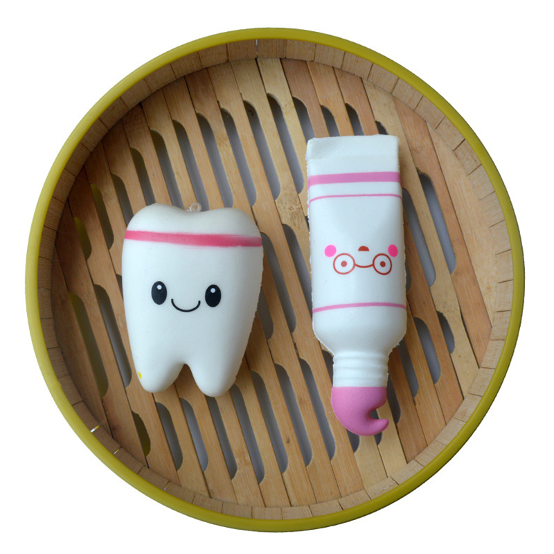 Squishy Real Life Of Tooth Pendants PU Slow Rebound Toothpaste Set Decompression Toys Antistress Relieve Stress Funny Toy GF44