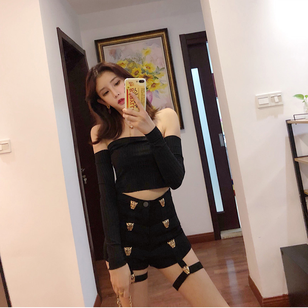 Punk Style Women   Shorts   Metal Leopard Button Decoration Elastic Band Hollow Out Hip Pop Summer Sexy Zipper Black Fashion   Shorts