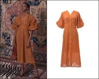 New 2019 High end customized summer retro wave point slim dress lantern sleeve waist length
