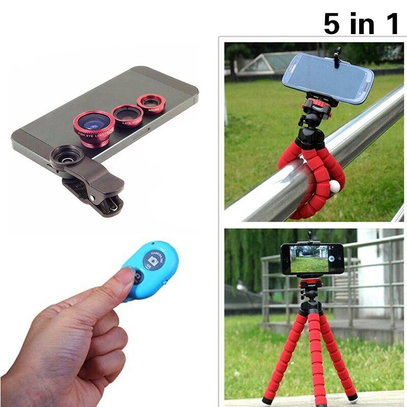 Universal 5in1 Camera Kit Fisheye Len Wide Angle Len Macro Len 3in1 Lenses With Tripod Bluetooth Shutter For Samgung S7 S8