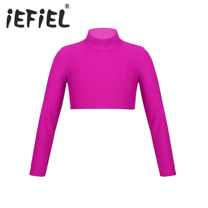 Long Sleeves Kid Girls Children Ballet Dance Clothes Polo Neck Crop Top for Dancing Stage Performance Workout Sports Crop Top