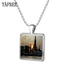 TAFREE Mei Nan River Picture Necklace Beautiful Fashion silver plated Square Pendant Necklaces man women Gift Jewelry FA491(China)