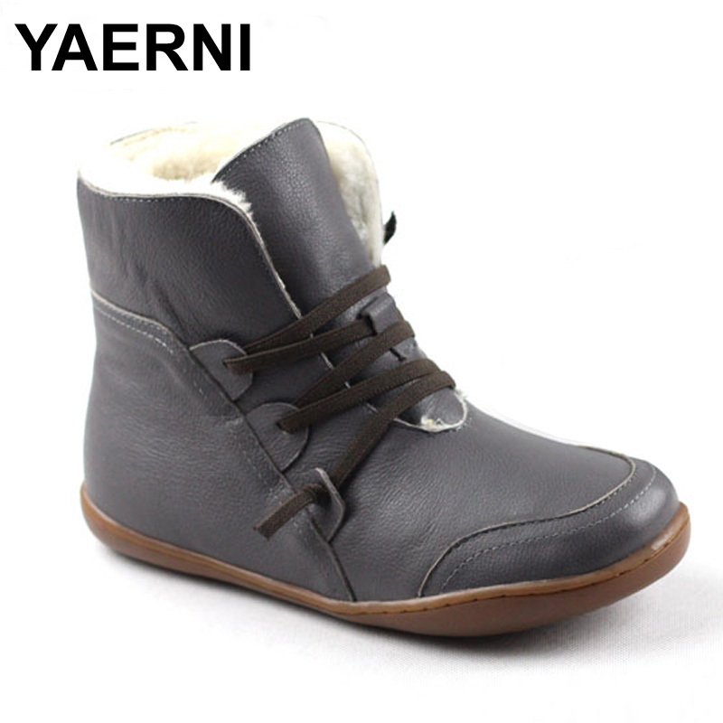 YAERNI (35-42)Women's Boots Winter Shoes Wool Genuine Leather Shoes Round toe Lace up Ladies Ankle Boots Female Footwear (K10) front lace up casual ankle boots autumn vintage brown new booties flat genuine leather suede shoes round toe fall female fashion