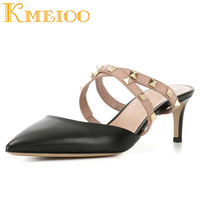 Kmeioo Heeled Mules Kitten Heel Woman Shoes Cross Tied Pointed Toe Pumps Backless Party Ladies Sandals 10CM