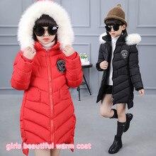 Nouvelle épais enfants filles manteau d'hiver veste pour bébé 5-13 année casual enfants brodé logo coton marque manteau pour filles 26132b