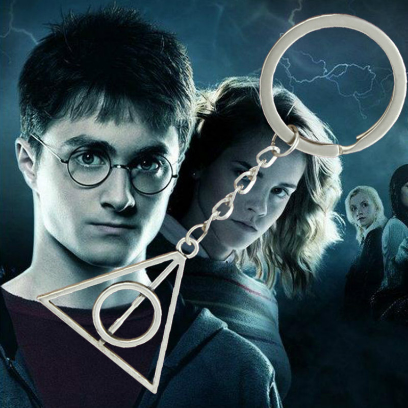 Harry Potter Deathly Hallows Keychain Keyring Among the Resurrection Stone Can Rotate the Triangle for Men Women Jewelry Gift