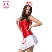 Red/White Satin Zipper Sukienka Nurse Kostium Cosplay Kostiumy Halloween Gorset Bez Kości Kobiety Carnaval Deguisement Dorosłe
