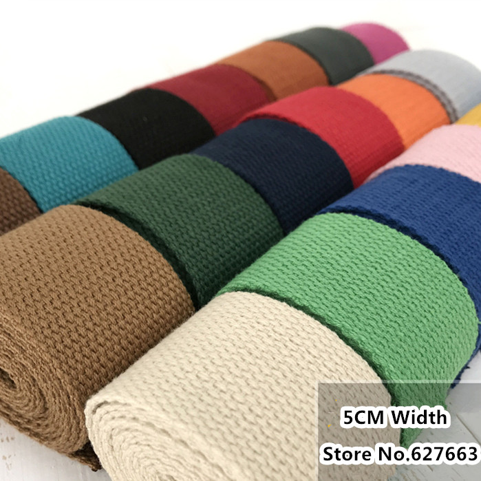 50MM Width Thick Plain Color Polyester Cotton Canvas Webbing Ribbon Bag Belt Strap Garments Crafts Accessories