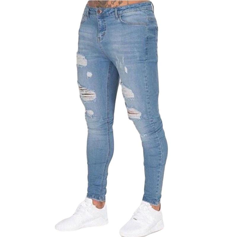 2019 Fashion men autumn Europe America Style   jeans  /Man high-grade tight Pure cotton leisure broken hole   jeans   pants S-XXXL