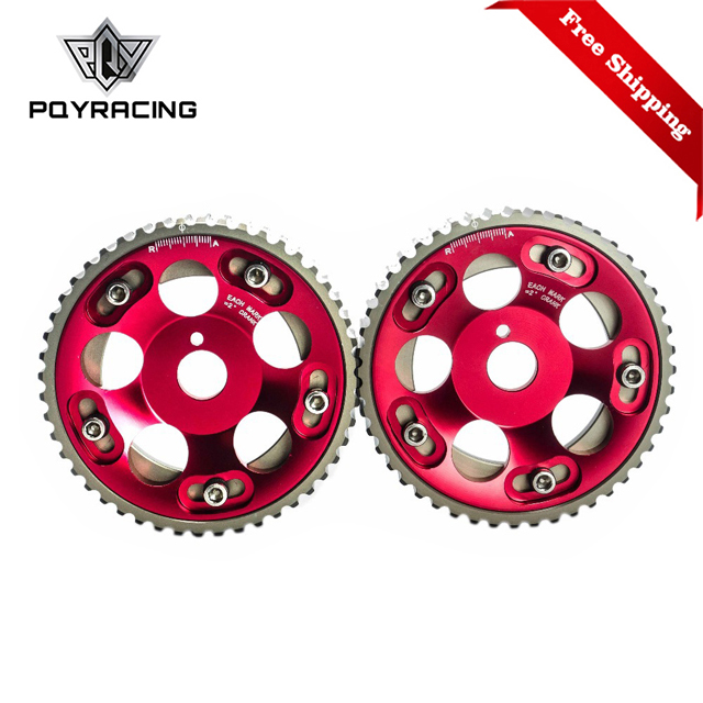 Free Shipping (1Pair)FOR <font><b>Toyota</b></font> <font><b>1JZ</b></font> <font><b>2JZ</b></font> DOHC Engine Adjustable Aluminum Pulley Cam Gear Red PQY6531R image