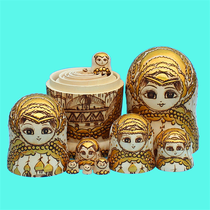 10 Layer Carving Gold Color Russian Dolls 10pcs Dry Basswood Hand-painted Matryoshka Doll Nesting  Delicate Wooden Toy L30