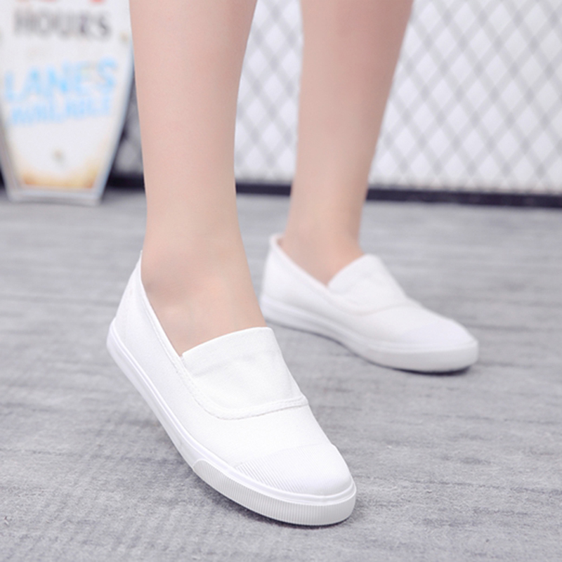 2017 summer new canvas student flat comfortable white shoes women basic casual shoes slip-on canvas walking shoes female O911255 e lov women casual walking shoes graffiti aries horoscope canvas shoe low top flat oxford shoes for couples lovers