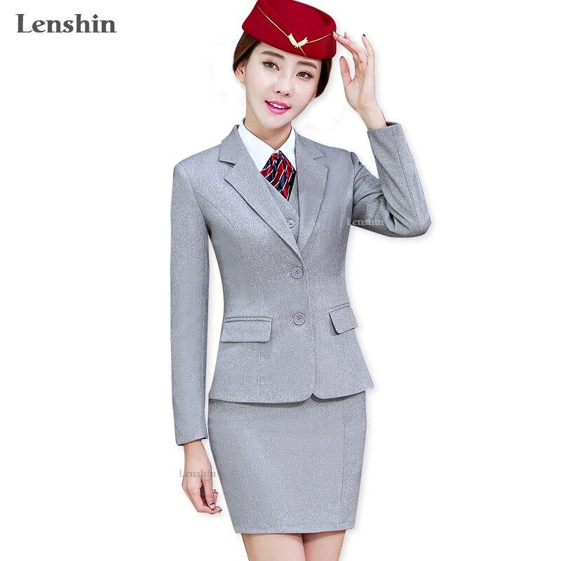 Lenshin, серый комплект из 4 предметов, Офисная Женская юбка, костюм, Униформа, дизайн, женские деловые костюмы для работы, официальная одежда