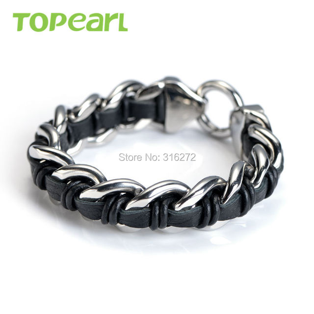 Topearl Jewelry Men Stainless Steel Curb Chain Black Genuine Leather Bracelet MEB21