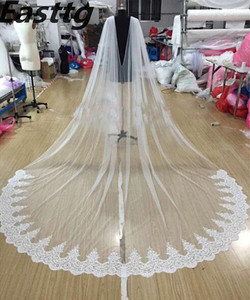 "Image 1 - לבן/שנהב תחרה שכמיית צעיף 108 ""W x 120"" (3 מטר) קתדרלת ארוך חתונה כלה גלימת גלימת צעיף תחרה לקצץ אביזרי חתונה"