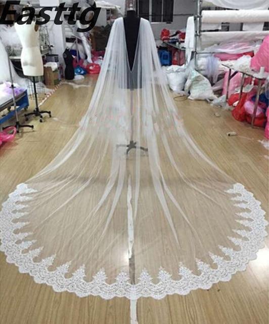 """לבן/שנהב תחרה שכמיית צעיף 108 """"W x 120"""" (3 מטר) קתדרלת ארוך חתונה כלה גלימת גלימת צעיף תחרה לקצץ אביזרי חתונה"""