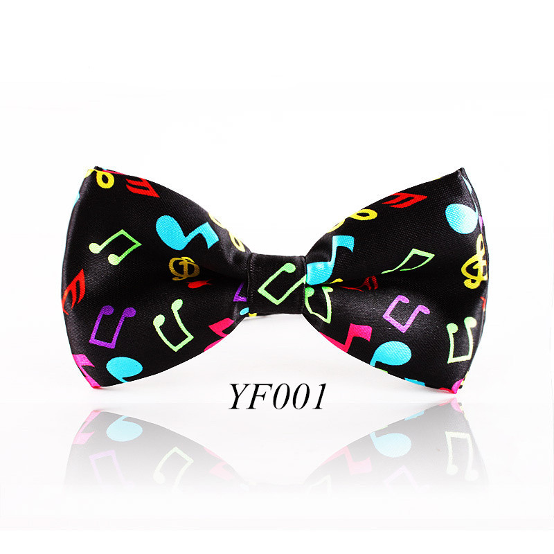 Fashion Colorful Musical Note  Bowtie  Black Music Pattern Bow Tie For Men Women Novelty Cravat Leisure Cool Brand