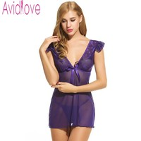 Avidlove Brand Sexy Nightdress Women Babydoll Dress V Neck Transparent Lingerie Sexy Nightwear G String Sleepwear